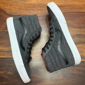 Vans Men's Gray Plaid Sk8-Hi Top Sneakers, sz 10